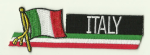 Italy Embroidered Flag Patch, style 01.